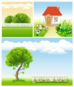 Set of garden images - templates for design — Stock Vector