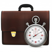 3d briefcase and stopwatch — Stock Photo