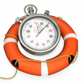 3d lifebuoy with stopwatch, save time concept — Stock Photo