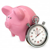3d piggy bank with stopwatch, save time concept — Stock Photo