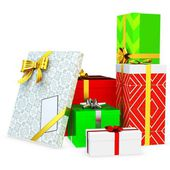 3d gift boxed with blank tag — Stock Photo