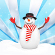 3d cute snowman with hat on winter snowflake — Stock Photo #59894305