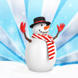 3d cute snowman with hat on winter snowflake — Stock Photo #59894339