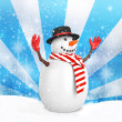 3d cute snowman with hat on winter snowflake — Stock Photo #59894395