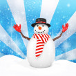 3d cute snowman with hat on winter snowflake — Stock Photo #59894439