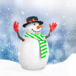 3d cute snowman with hat on winter snowflake — Stock Photo #59894521