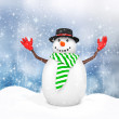 3d cute snowman with hat on winter snowflake — Stock Photo #59894561