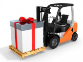 3d forklift with huge gift box  — Stock Photo