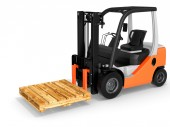 3d forklift with pallet — Stock Photo