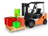 3d forklift with gift boxes — Stock Photo
