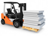 3d forklift with pallet and stack of books — Stok fotoğraf