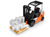 3d forklift with puzzle pieces — Stock Photo