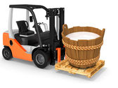 3d forklift with milk wood bucket  — Stock Photo