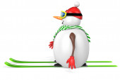 3d snowman with skis — Stock Photo
