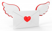 3d valentines day love letter with red heart — Stock Photo