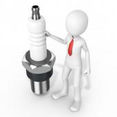 3d man businessman with detailed sparkplug — Foto de Stock