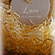 Brown wooden love heart in a love nest — Stock Photo #52886873