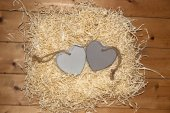 Couple of blank grey wooden love hearts — Stock Photo