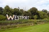 Giant Westport town sign — Stock Photo