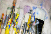 Various sized artists brushes — Stock Photo