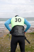 Wild Atlantic way windsurfer getting suit ready — Stock Photo