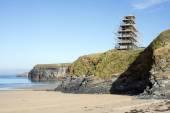 Ballybunion castle scafolded on the cliffs — Stock Photo