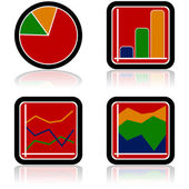 Graph icons — Stock Vector