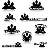 Teamwork icons — Stock Vector