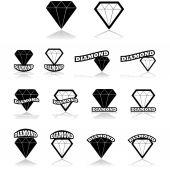 Diamond icons — Stock Vector