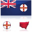 New South Wales flag and map — Stock Vector #68409129