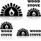 Wood stove — Stock Vector