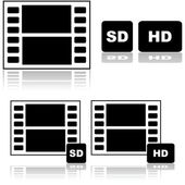 Standard and high definition movies — Vettoriale Stock
