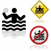 Water polo signs — Stock Vector