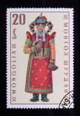 Post stamp. Mongolian clothes — Stock Photo