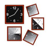 Square clock. Isolated — Stock Photo