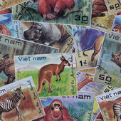 Abstract seamless pattern background. Post stamps Vietnam — Stock Photo