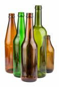 Green and brown empty bottles — Stock Photo