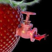 Strawberry Juice Spigot — Stock Photo