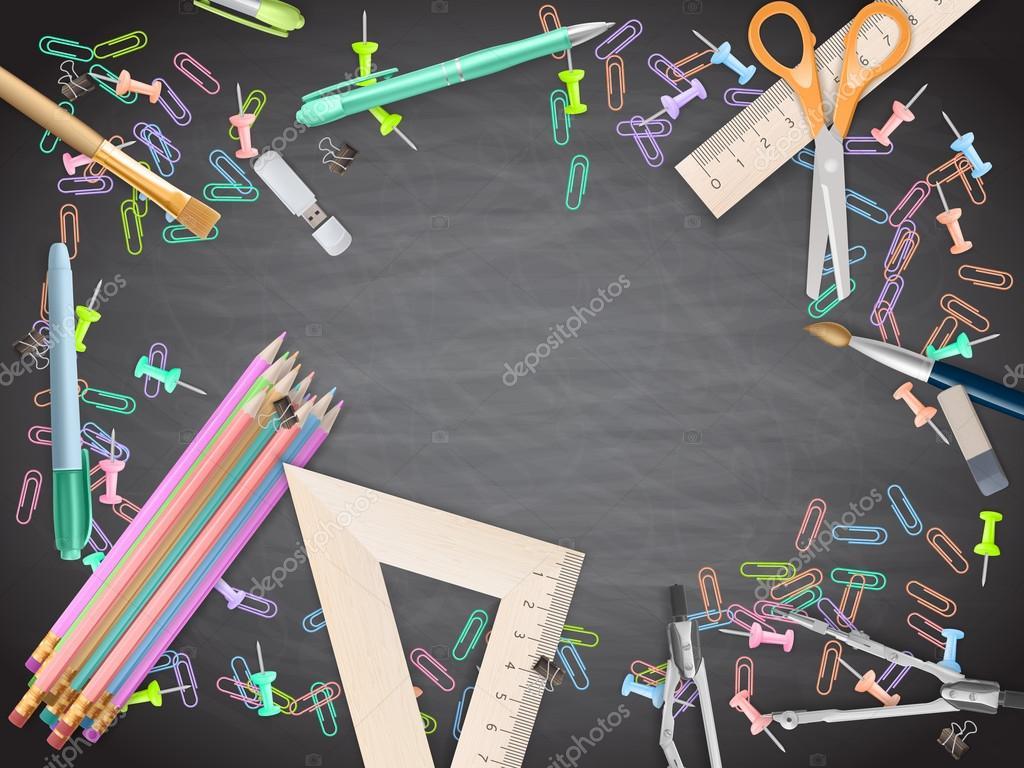 Fondo Utiles Escolares Vector: Útiles Escolares En El Fondo De La Pizarra. EPS 10