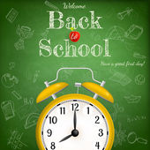 Back to school with alarm clock. EPS 10 — Stock Vector