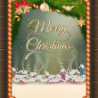 Christmas illustration frame with winter village. — Stockvector  #53651915