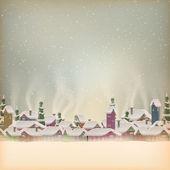 Merry Christmas retro postcard village. EPS 10 — Stock Vector