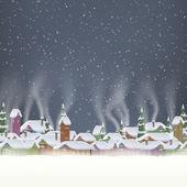 Merry Christmas retro postcard village. EPS 10 — Vetorial Stock