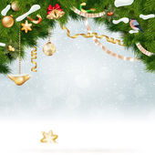 Christmas background with fir and gold balls. — Stock Vector