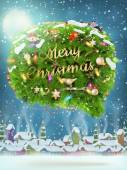 Christmas fir tree Bubble for speech. EPS 10 — Vetor de Stock