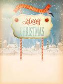 Cosecha de navidad con el letrero. eps 10 — Vector de stock