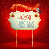 Christmas Vintage card with Signboard. EPS 10 — Vecteur