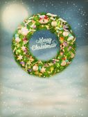 Christmas garland with baubles. EPS 10 — Vector de stock