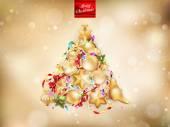 Golden Christmas background. EPS 10 — Stock Vector