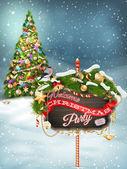 Ramas de madera banner con piel-árbol de navidad. — Vector de stock